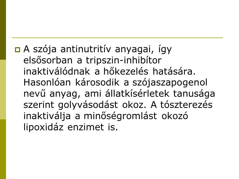 A szója antinutritív anyagai, így elsősorban a tripszin-inhibítor inaktiválódnak a hőkezelés hatására.