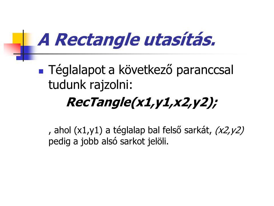 A Rectangle utasítás. Téglalapot a következő paranccsal tudunk rajzolni: RecTangle(x1,y1,x2,y2);