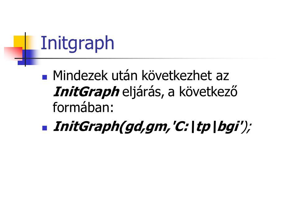 Initgraph Mindezek után következhet az InitGraph eljárás, a következő formában: InitGraph(gd,gm, C:\tp\bgi );