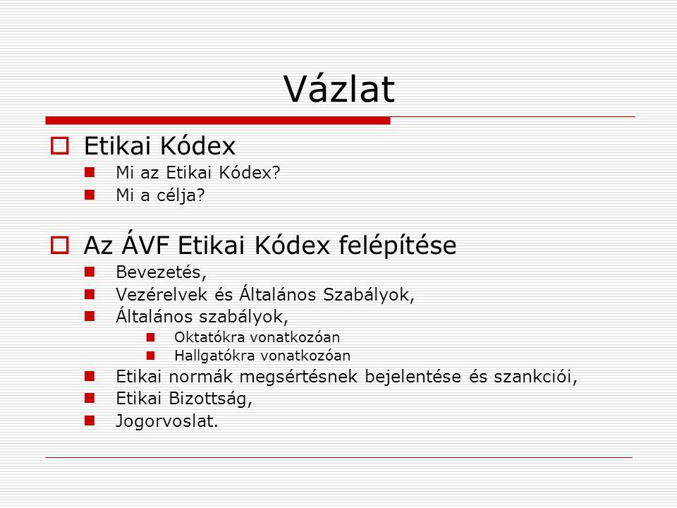 Vázlat Etikai Kódex Az ÁVF Etikai Kódex felépítése Mi az Etikai Kódex