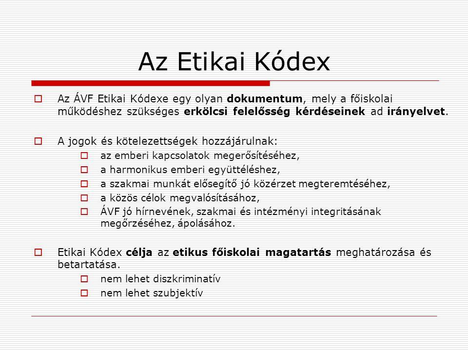 Az Etikai Kódex Az ÁVF Etikai Kódexe egy olyan dokumentum, mely a főiskolai működéshez szükséges erkölcsi felelősség kérdéseinek ad irányelvet.
