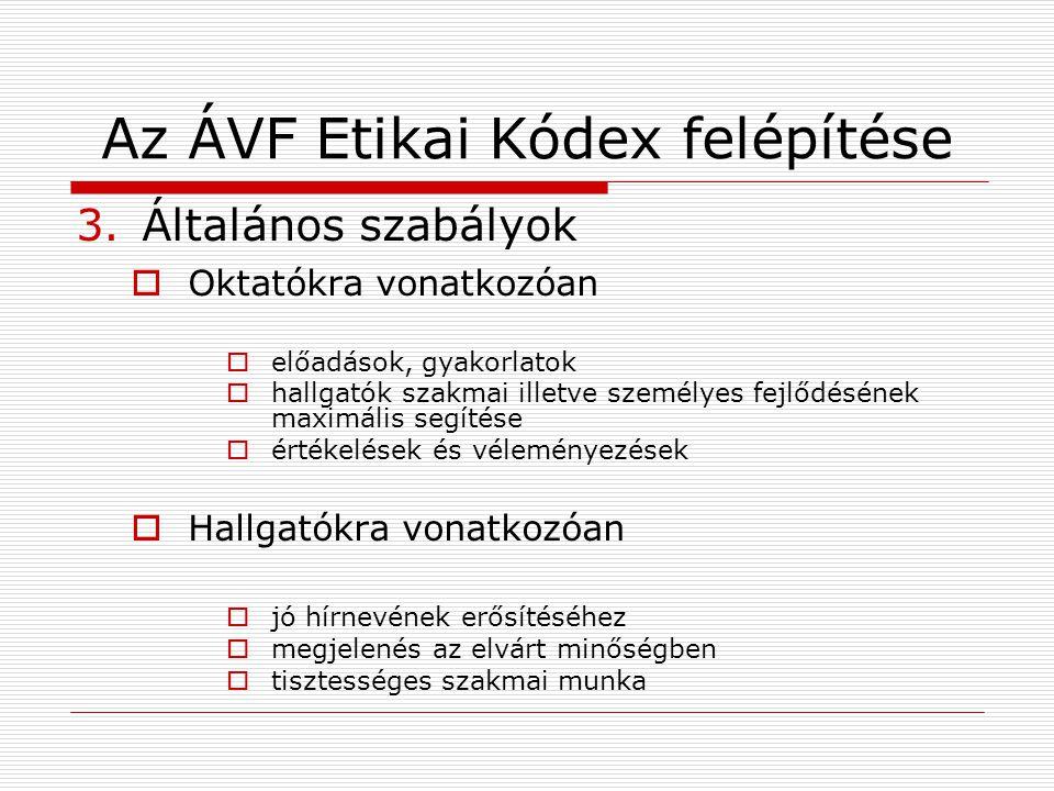 Az ÁVF Etikai Kódex felépítése