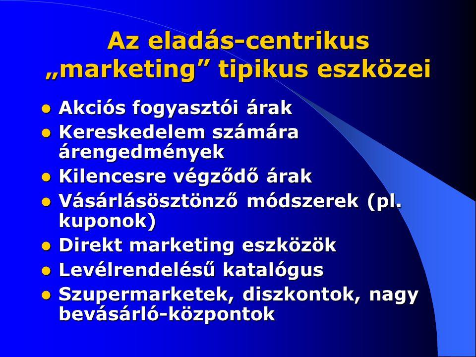 """Az eladás-centrikus """"marketing tipikus eszközei"""