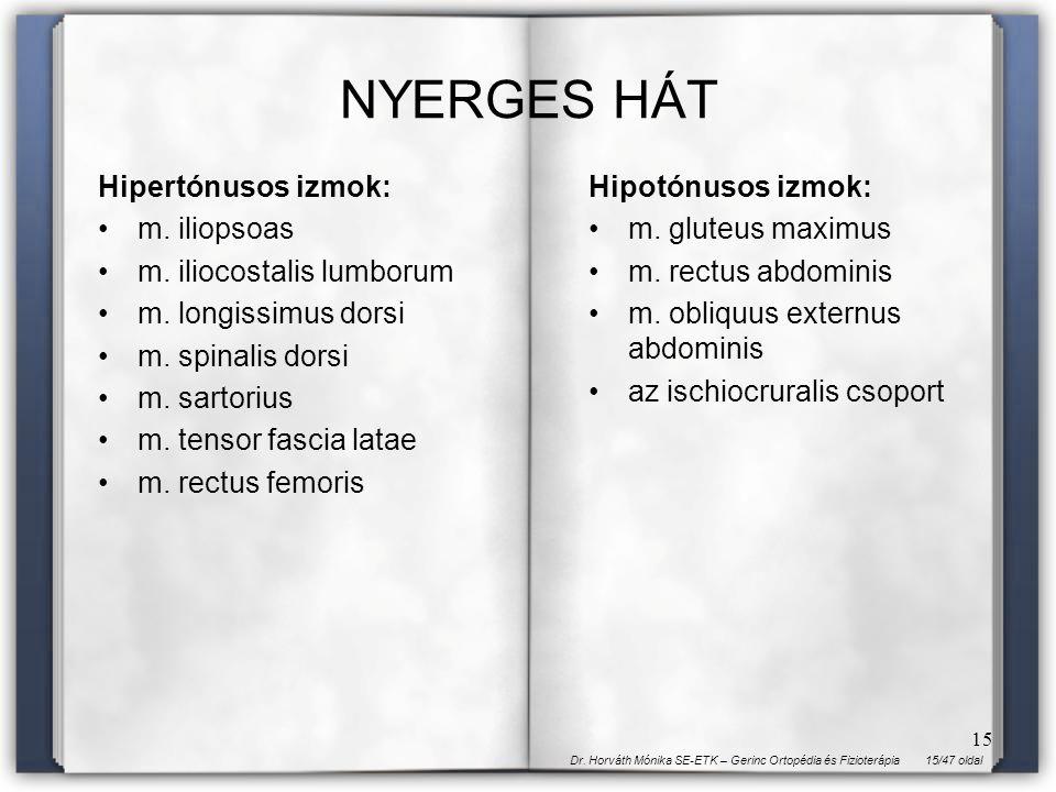 NYERGES HÁT Hipertónusos izmok: m. iliopsoas m. iliocostalis lumborum