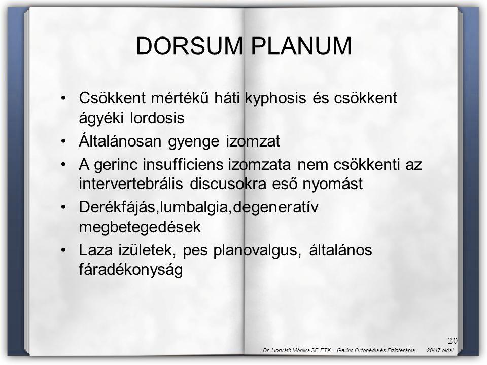 DORSUM PLANUM Csökkent mértékű háti kyphosis és csökkent ágyéki lordosis. Általánosan gyenge izomzat.