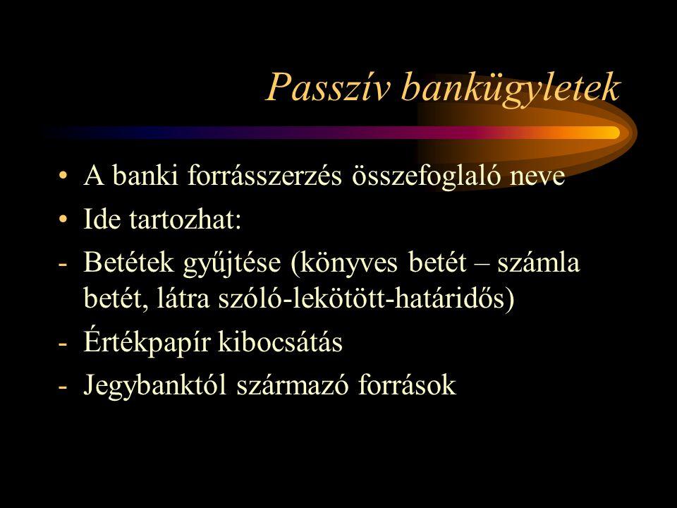 Passzív bankügyletek A banki forrásszerzés összefoglaló neve