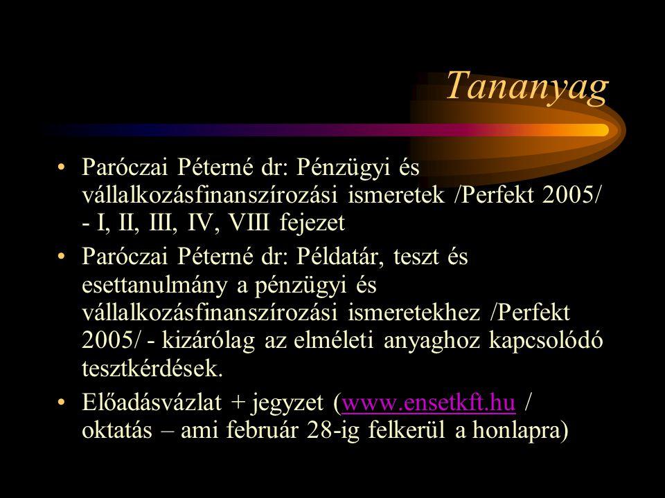 Tananyag Paróczai Péterné dr: Pénzügyi és vállalkozásfinanszírozási ismeretek /Perfekt 2005/ - I, II, III, IV, VIII fejezet.