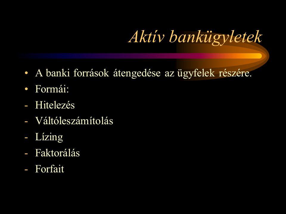 Aktív bankügyletek A banki források átengedése az ügyfelek részére.