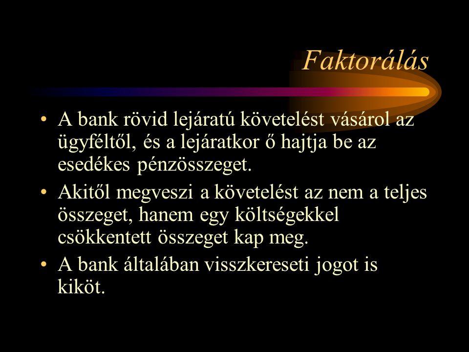 Faktorálás A bank rövid lejáratú követelést vásárol az ügyféltől, és a lejáratkor ő hajtja be az esedékes pénzösszeget.
