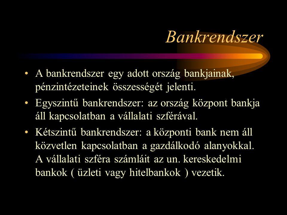Bankrendszer A bankrendszer egy adott ország bankjainak, pénzintézeteinek összességét jelenti.