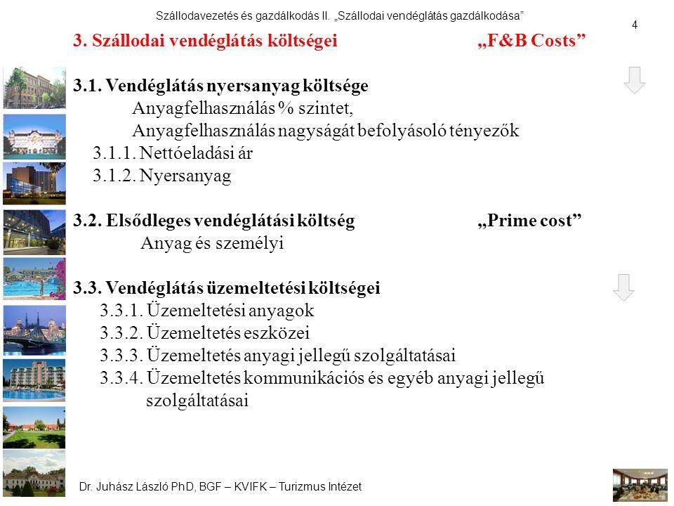 """3. Szállodai vendéglátás költségei """"F&B Costs"""