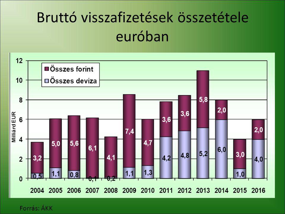 Bruttó visszafizetések összetétele euróban