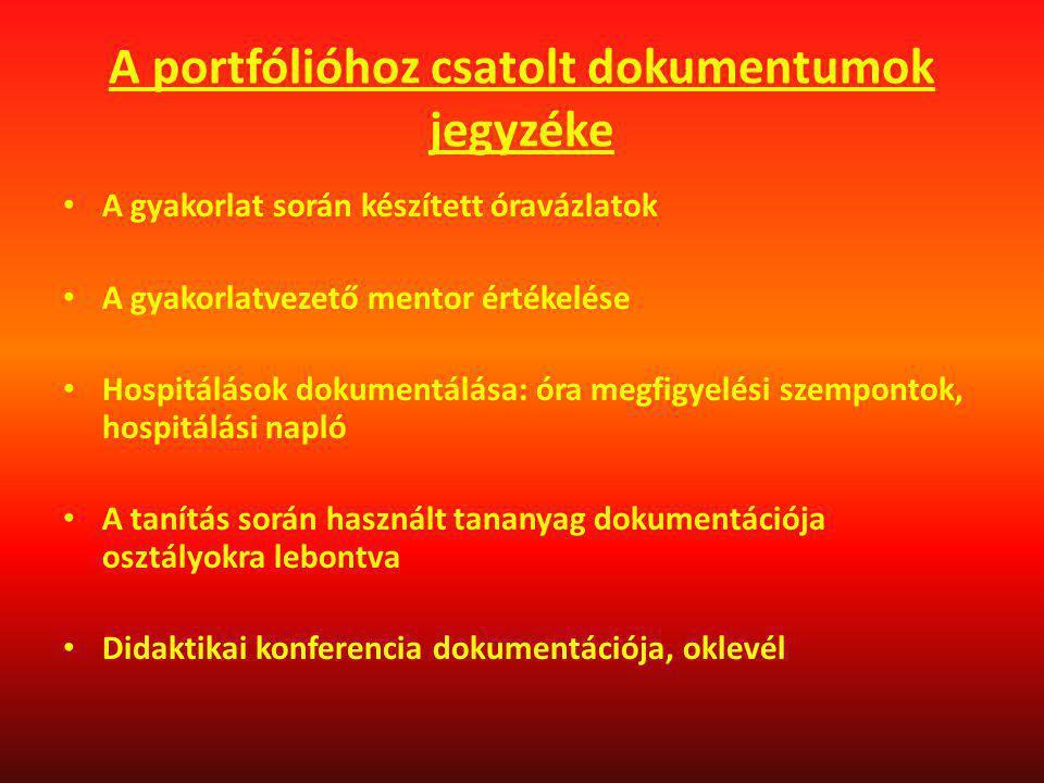 A portfólióhoz csatolt dokumentumok jegyzéke