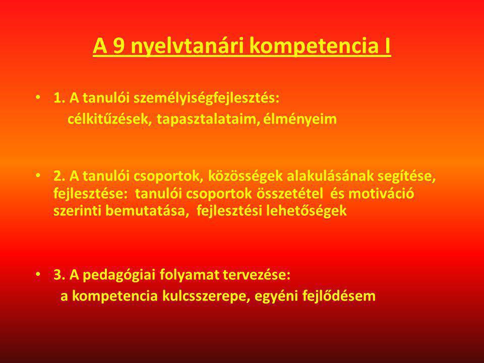 A 9 nyelvtanári kompetencia I
