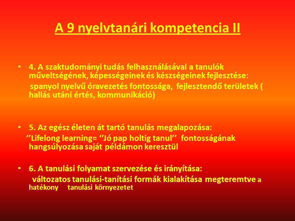 A 9 nyelvtanári kompetencia II