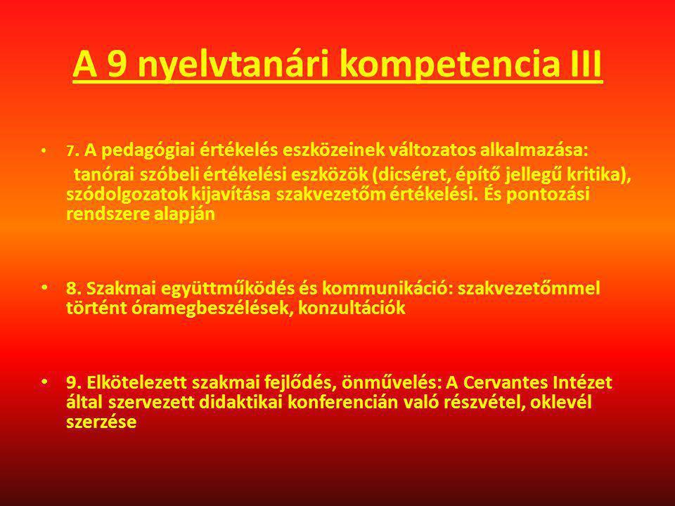 A 9 nyelvtanári kompetencia III