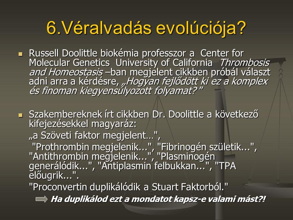 6.Véralvadás evolúciója