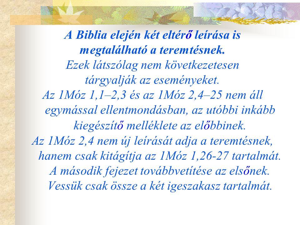 A Biblia elején két eltérő leírása is megtalálható a teremtésnek.
