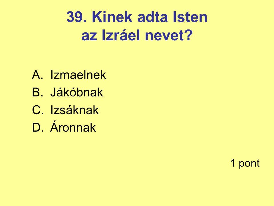 39. Kinek adta Isten az Izráel nevet