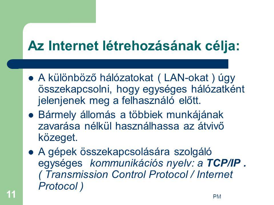 Az Internet létrehozásának célja: