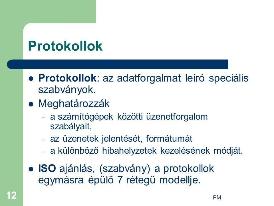 Protokollok Protokollok: az adatforgalmat leíró speciális szabványok.