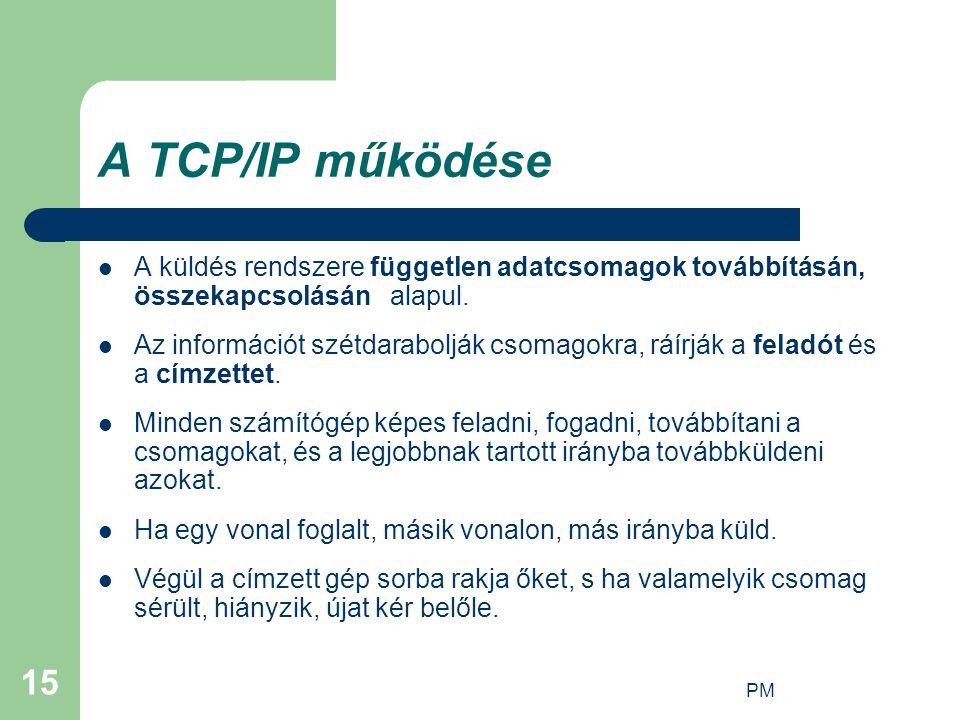 A TCP/IP működése A küldés rendszere független adatcsomagok továbbításán, összekapcsolásán alapul.