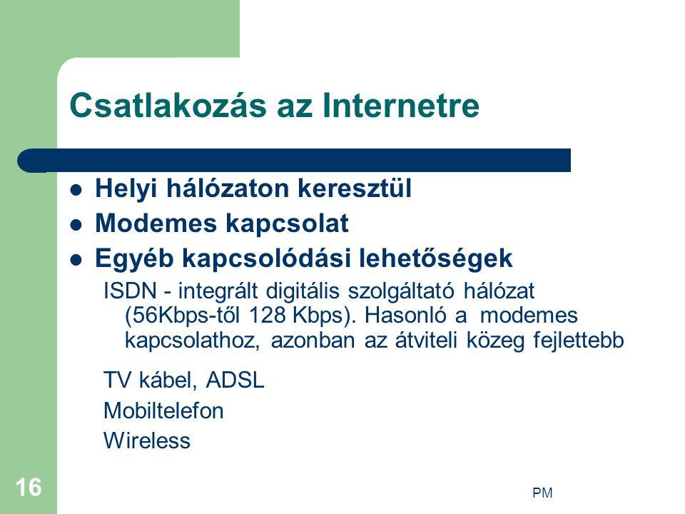 Csatlakozás az Internetre