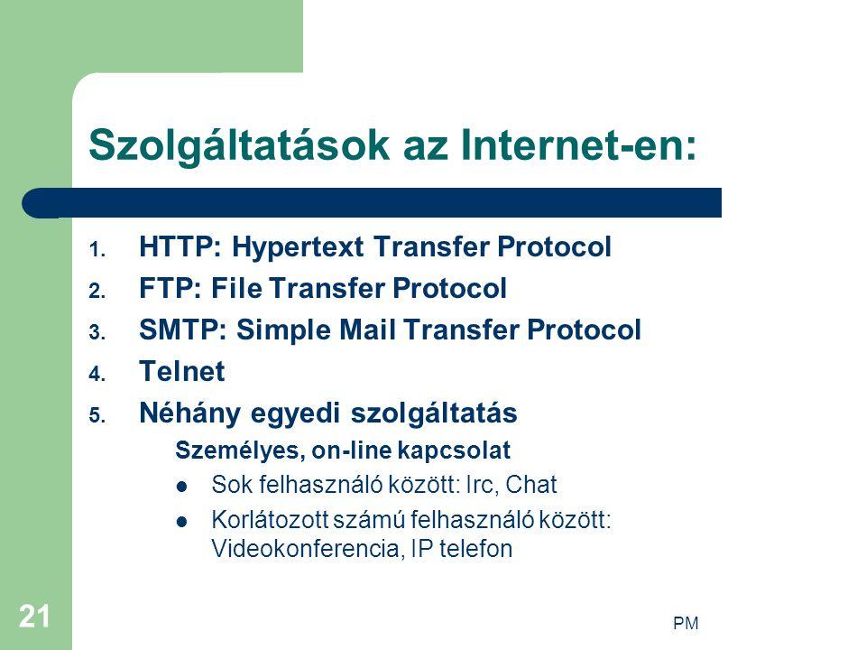 Szolgáltatások az Internet-en: