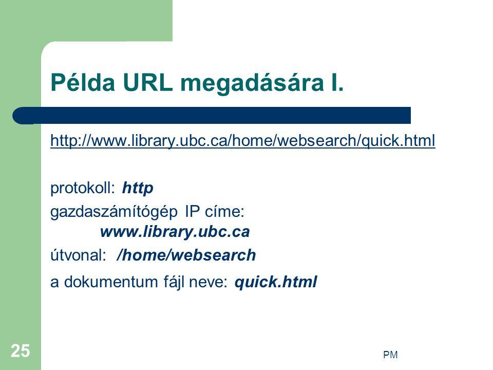Példa URL megadására I. http://www.library.ubc.ca/home/websearch/quick.html. protokoll: http. gazdaszámítógép IP címe: www.library.ubc.ca.