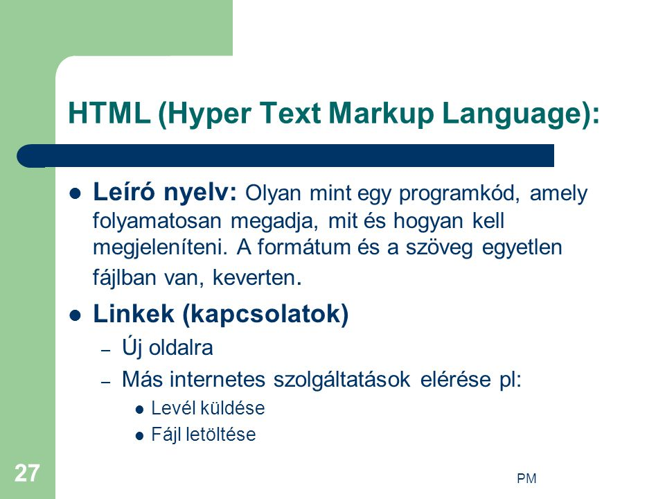 HTML (Hyper Text Markup Language):