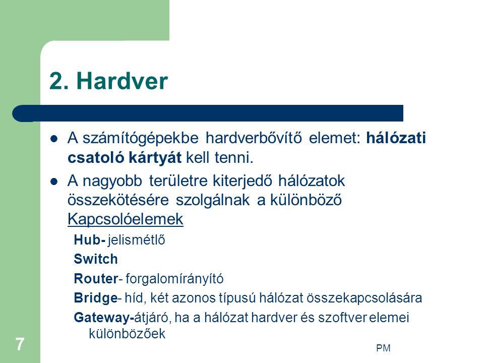 2. Hardver A számítógépekbe hardverbővítő elemet: hálózati csatoló kártyát kell tenni.