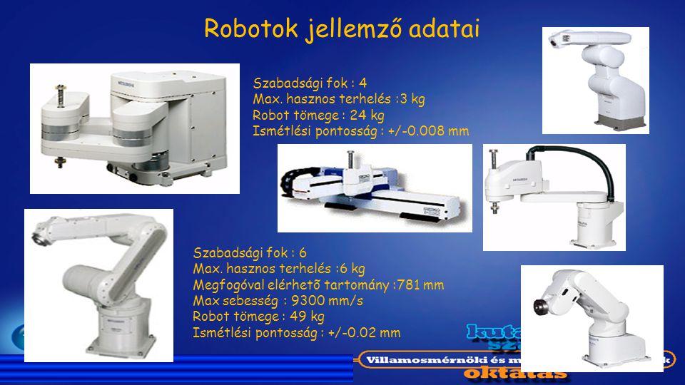 Robotok jellemző adatai