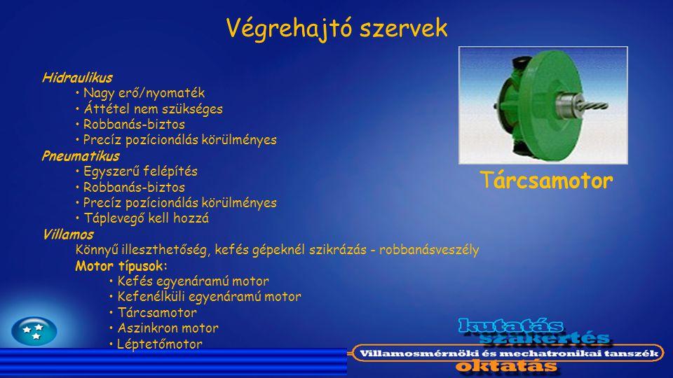 Végrehajtó szervek Tárcsamotor Hidraulikus Nagy erő/nyomaték