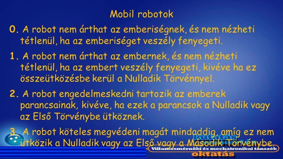 Mobil robotok 0. A robot nem árthat az emberiségnek, és nem nézheti tétlenül, ha az emberiséget veszély fenyegeti.