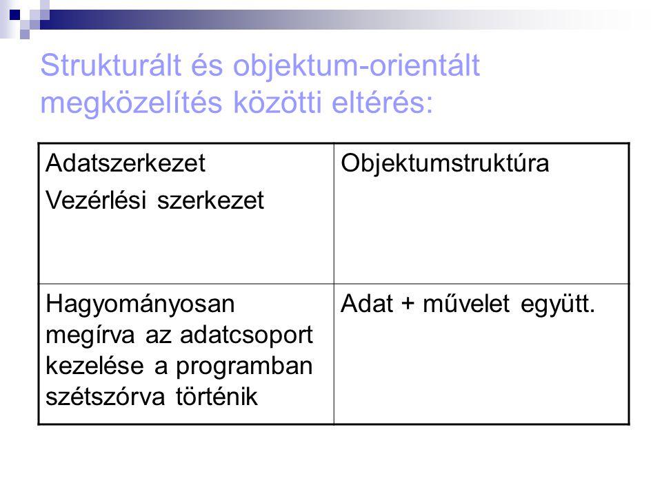 Strukturált és objektum-orientált megközelítés közötti eltérés: