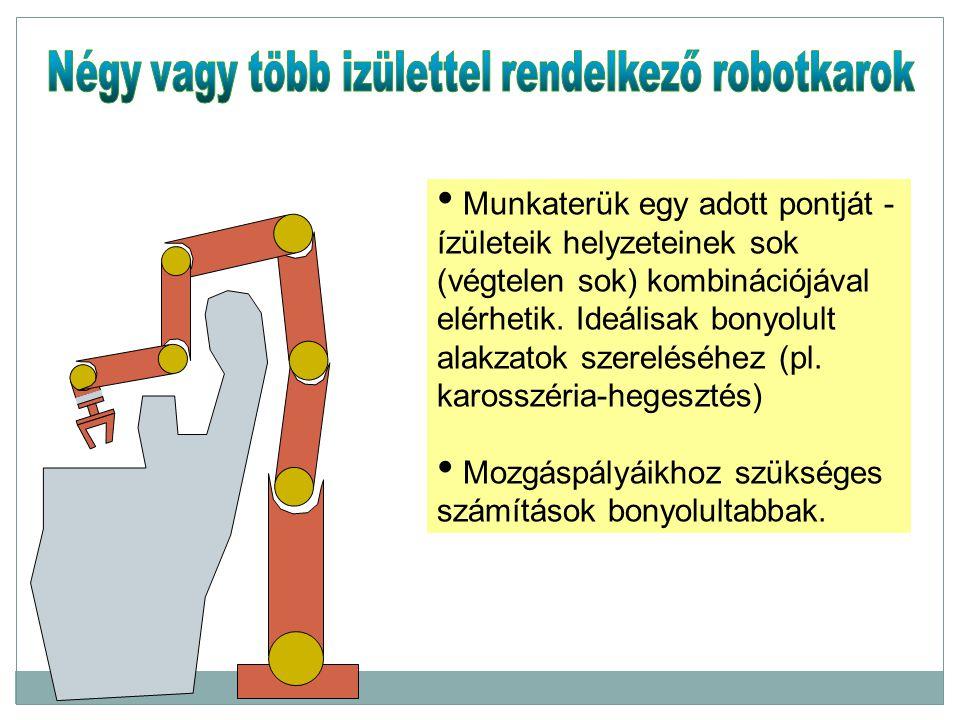 Négy vagy több izülettel rendelkező robotkarok