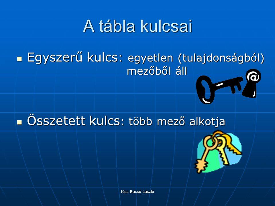 A tábla kulcsai Egyszerű kulcs: egyetlen (tulajdonságból) mezőből áll