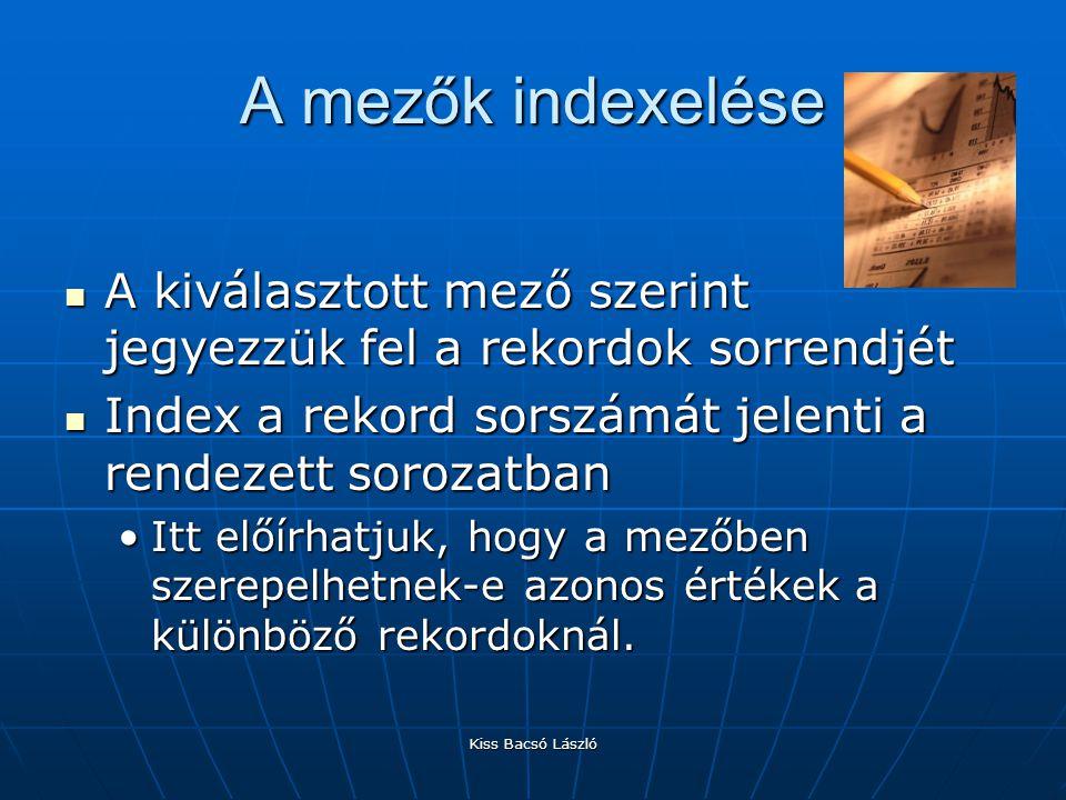 A mezők indexelése A kiválasztott mező szerint jegyezzük fel a rekordok sorrendjét. Index a rekord sorszámát jelenti a rendezett sorozatban.