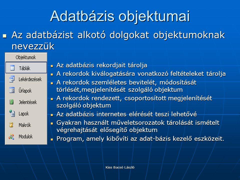 Adatbázis objektumai Az adatbázist alkotó dolgokat objektumoknak nevezzük. Az adatbázis rekordjait tárolja.