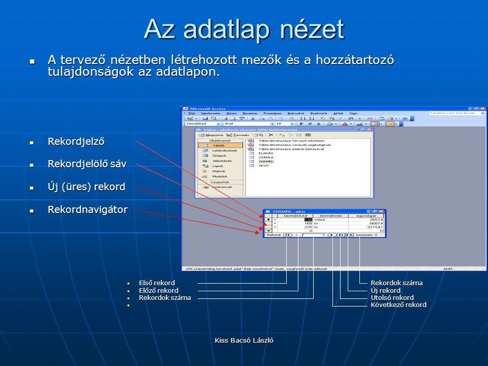 Az adatlap nézet A tervező nézetben létrehozott mezők és a hozzátartozó tulajdonságok az adatlapon.