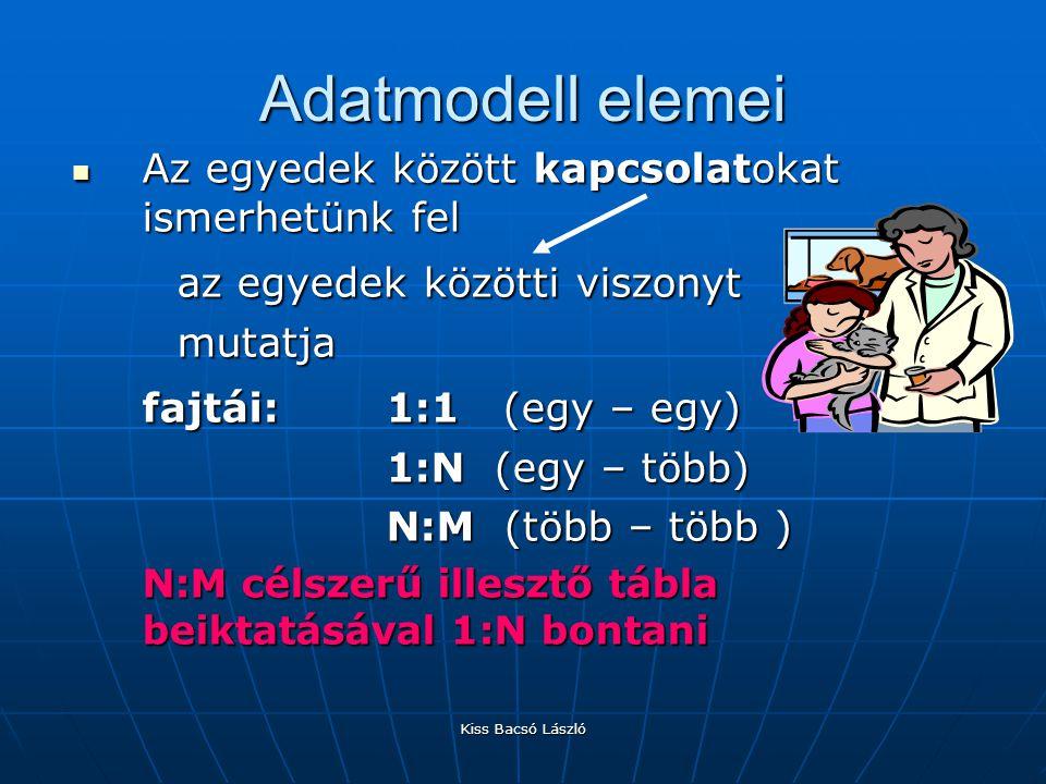 Adatmodell elemei az egyedek közötti viszonyt fajtái: 1:1 (egy – egy)