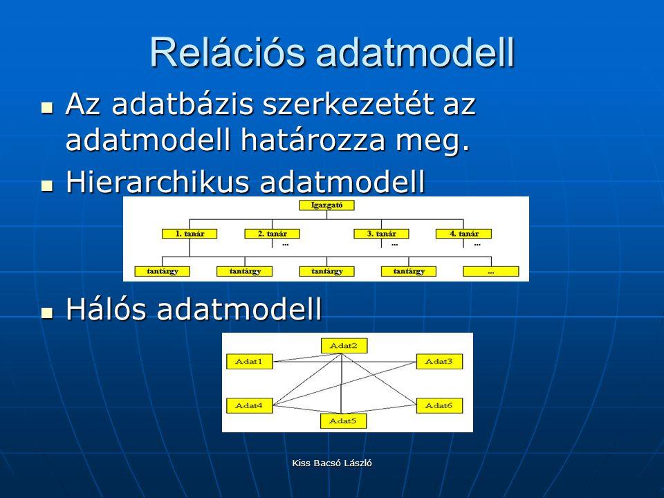 Relációs adatmodell Az adatbázis szerkezetét az adatmodell határozza meg. Hierarchikus adatmodell.