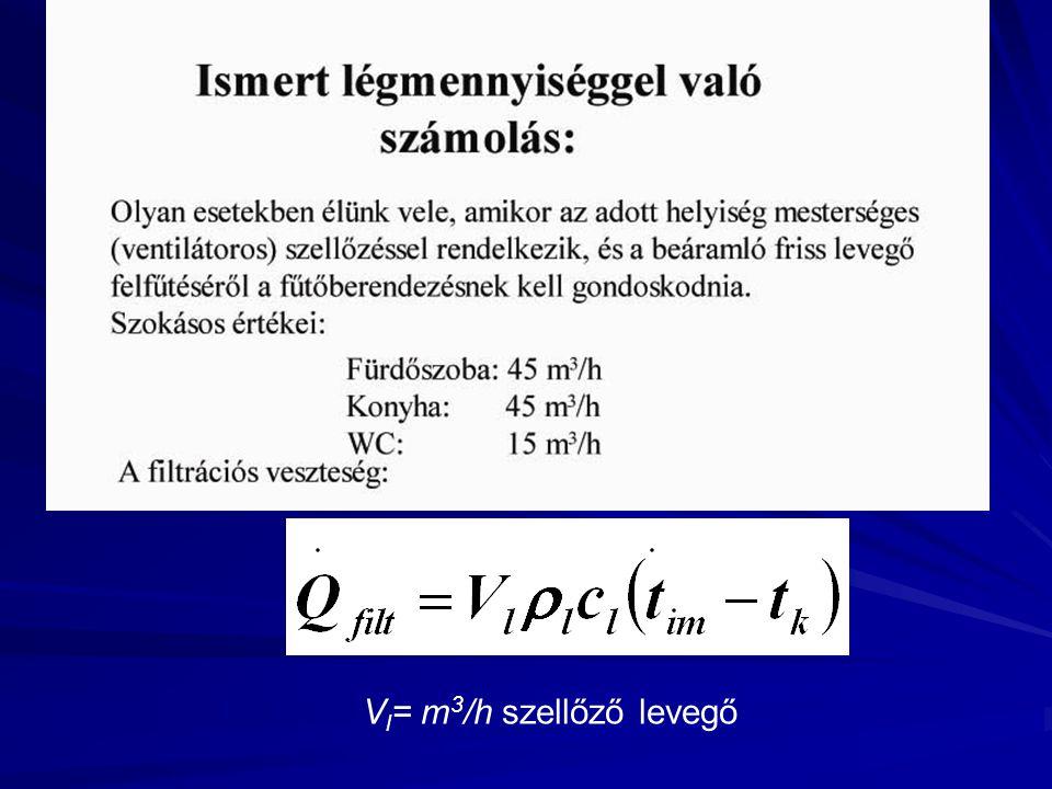 Vl= m3/h szellőző levegő