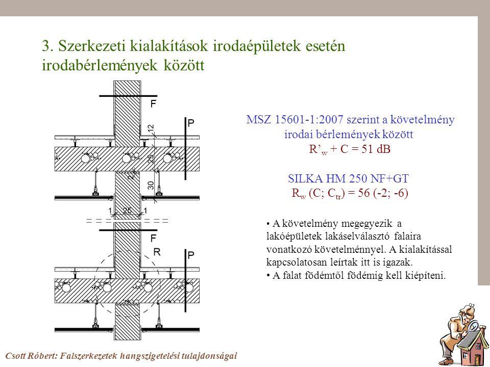 3. Szerkezeti kialakítások irodaépületek esetén irodabérlemények között