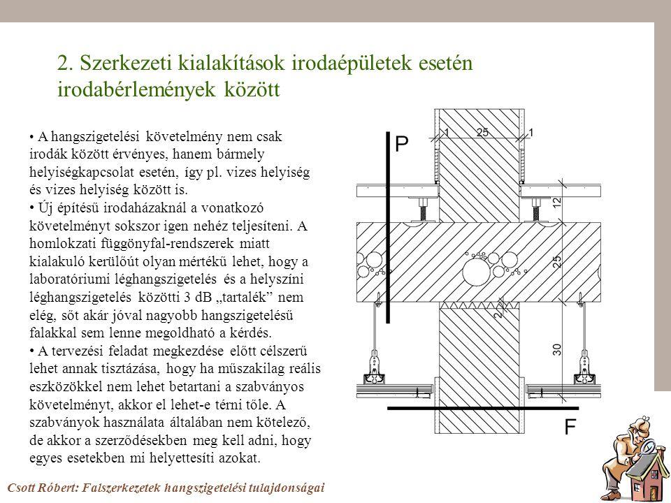 2. Szerkezeti kialakítások irodaépületek esetén irodabérlemények között