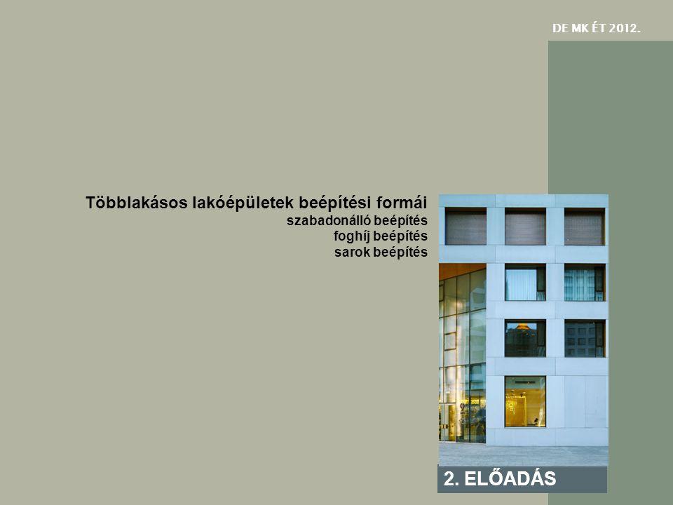 2. ELŐADÁS Többlakásos lakóépületek beépítési formái