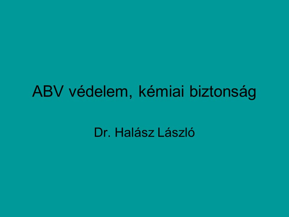 ABV védelem, kémiai biztonság