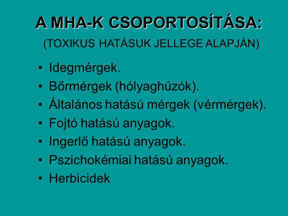 A MHA-K CSOPORTOSÍTÁSA: (TOXIKUS HATÁSUK JELLEGE ALAPJÁN)