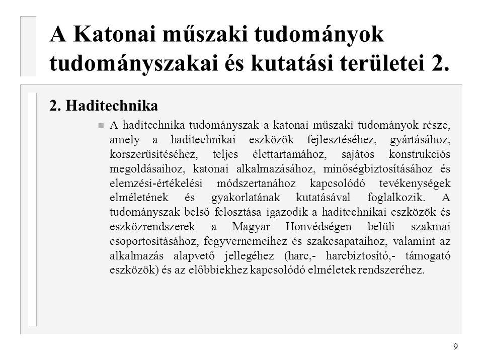 A Katonai műszaki tudományok tudományszakai és kutatási területei 2.