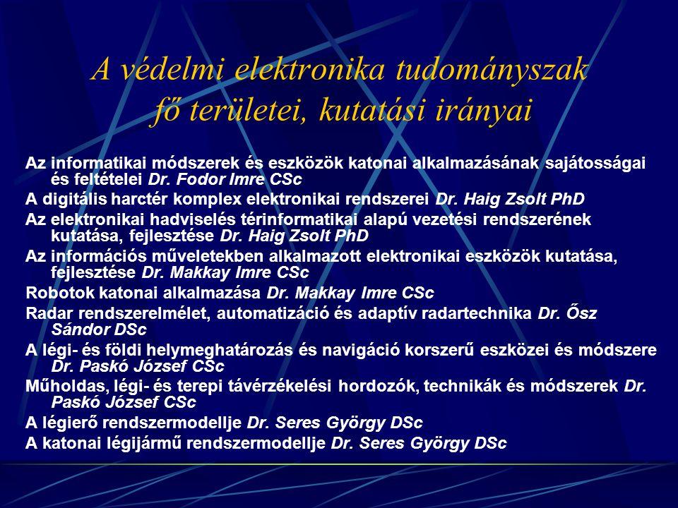 A védelmi elektronika tudományszak fő területei, kutatási irányai